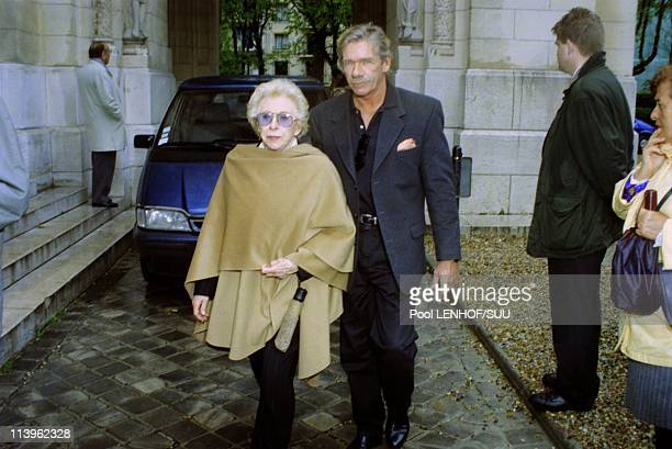 Funeral of Jackie Sardou In Neuilly sur Seine, France On April 06, 1998-French singer Patachou and Pierre Billon at funeral of Jackie Sardou.