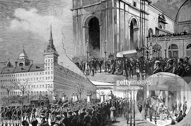 Funeral of king alfonso xii king of spain, historical illustration, circa 1886