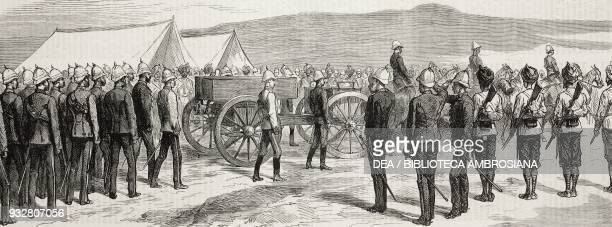 Funeral of Major Battye Sir Sam Browne saluting Jalalabad disaster to the 10th Hussar on the Kabul river Second AngloAfghan War illustration from the...
