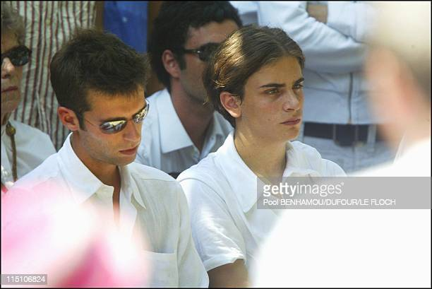 Funeral of Marie Trintignant at 'Pere Lachaise' in Paris France on August 06 2003 Vincent Marie's brother and Roman Kolinka one of Marie's son