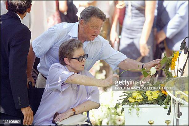 Funeral of Marie Trintignant at Pere Lachaise in Paris France on August 06 2003 Marie Dubois and husband Serge Rousseau