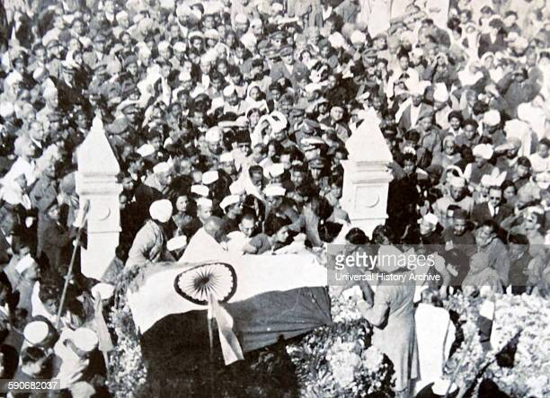 Funeral of Mohandas Karamchand Gandhi after he was assassinated in the garden of Birla House on 30 January 1948 Gandhi was the preeminent leader of...