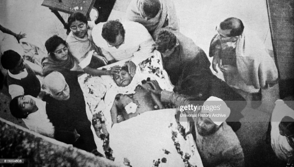 Funeral of Mohandas Karamchand Gandhi after he was assassinated in the garden of Birla House, on 30 January 1948. Gandhi (1869 - 1948), was the preeminent leader of the Indian independence movement in British-ruled India. Employing nonviolent civil disobedience, Gandhi led India to independence and inspired movements for civil rights and freedom across the world.