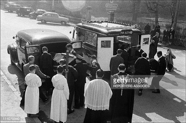 Funeral of mountaineers Jean Vincendon and Francois Henry in Chamonix France in 1957