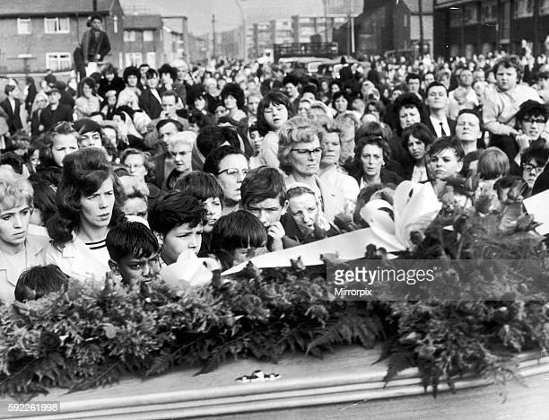 Funeral of murder victim Lesley Ann Downey with large crowd outside Trinity Methodist Church Ancoats Manchester October 1965 Lesley Ann Downey was 10...