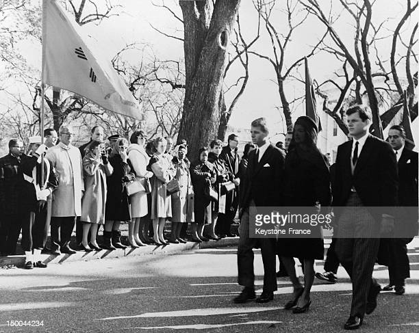 Funeral of President John Fitzgerald Kennedy with his brothers Robert and Edward and his widow Jacqueline leaving the Cathedral St Matthew on...