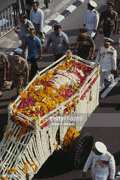 Funeral of Prime Minister of the Republic of India Indira Gandhi who was assassinated on 31 October 1984 by two of her Sikh bodyguards Satwant Singh...