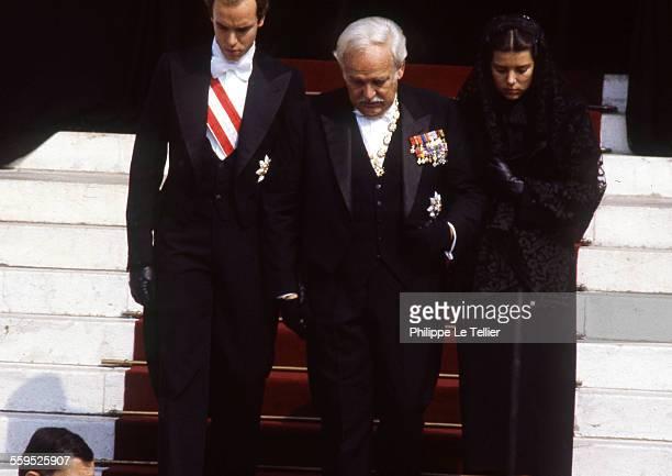 Funeral of Princess Grace of Monaco; Prince Rainier III, Caroline and Albert of Monaco Cathedral of Monaco, . Prince Rainier surrounded by his...