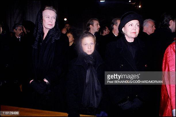 Funeral of Queen Marie Jose of Italy in Hautecombe France on February 02 2001 Princess Marie Gabrielle Milena Gaubert and Princess Maria Pia