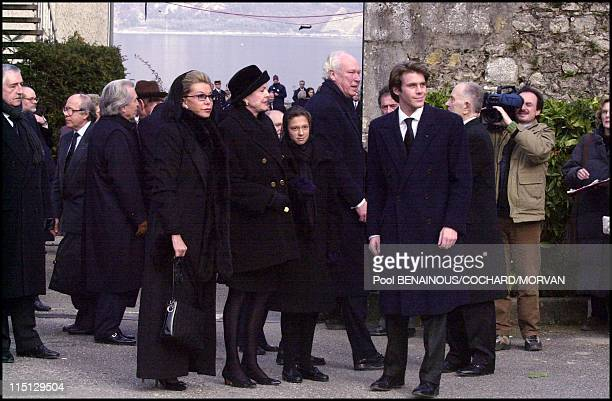 Funeral of Queen Marie Jose of Italy in Hautecombe France on February 02 2001 Emmanuel of Savoie Victor Emmanuel of Savoie Doria Marina and Milena...