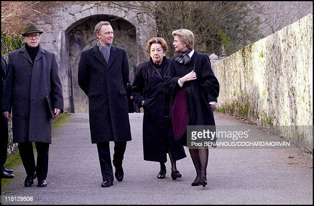 Funeral of Queen Marie Jose of Italy in Hautecombe France on February 02 2001 Marie Astrid of Luxembourg and her husband Christian von Habsbourg