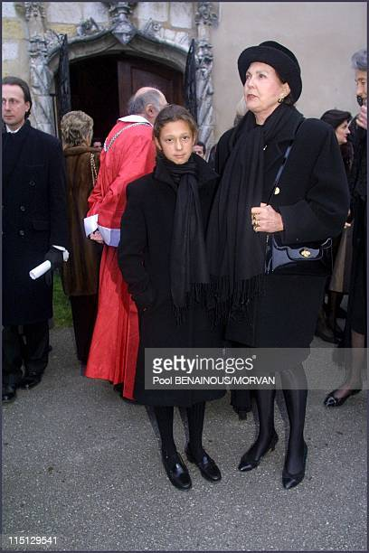 Funeral of Queen Marie Jose of Italy in Hautecombe France on February 02 2001 Milena Gaubert and Maria Pia of Savoie