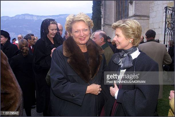 Funeral of Queen Marie Jose of Italy in Hautecombe France on February 02 2001 Beatrice de Bourbon Sicile and Marie Astrid Princess de Luxembourg
