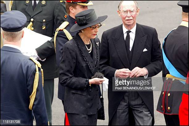Funeral of Queen Mum in London United Kingdom on April 09 2002 Grand Duke Jean of Luxembourg and wife Josephine Charlotte of Luxembourg