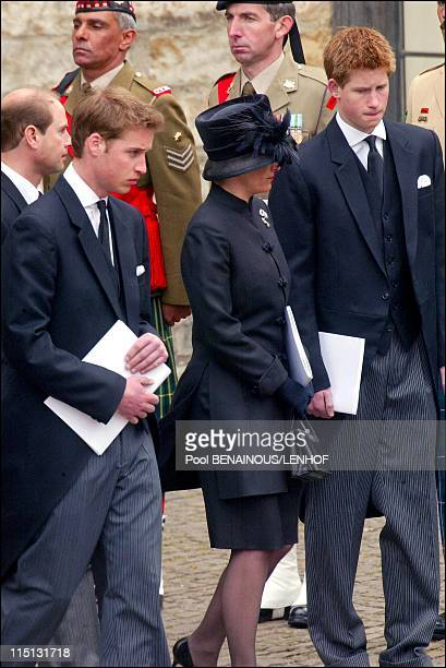 Funeral of Queen Mum in London United Kingdom on April 09 2002 Prince Edward and wife Sophie Rhyss Jones Prince William and Harry