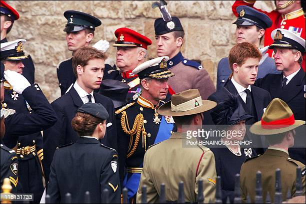 Funeral of Queen Mum in London United Kingdom on April 09 2002 Prince Charles with his two sons William and Harry