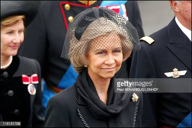 Funeral of Queen Mum in London United Kingdom on April 09 2002 Queen Sofia and Spain