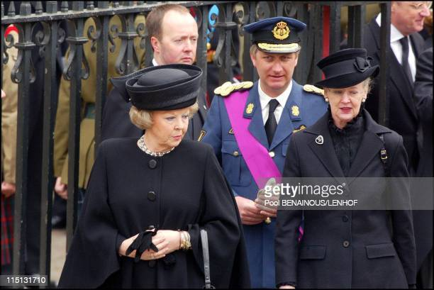 Funeral of Queen Mum in London United Kingdom on April 09 2002 Queen Beatrix Prince Philippe Queen Margrethe