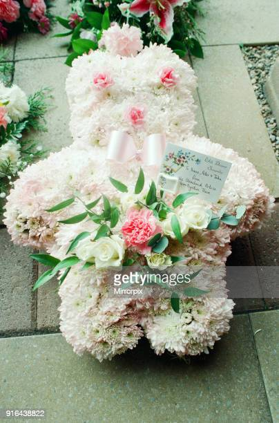 Funeral of schoolgirl Nikki Conroy Tuesday 5th April 1994 Pictured Condolence flowers outside School