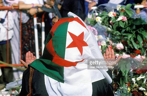 Funeral of Slimane Amirat and tribute to Mohamed Boudiaf in Algiers Algeria on July 5 1992
