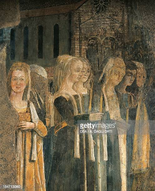 Funeral of St Bernardino 14611480 by Benedetto Bonfigli fresco Priors Chapel Priors Palace Perugia Umbria Detail Italy 15th century