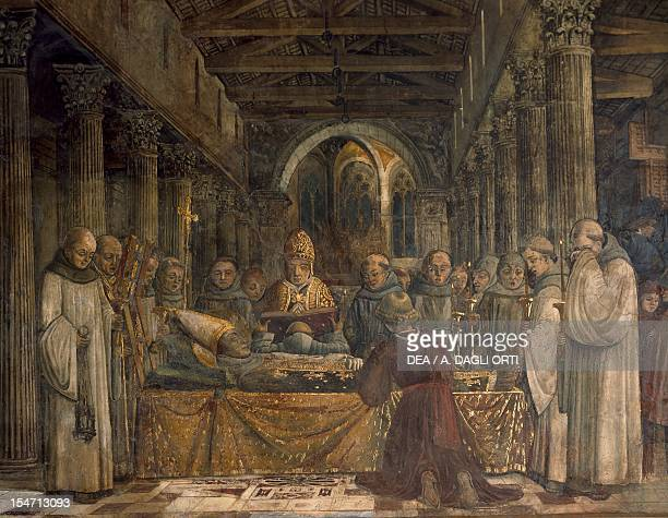 Funeral of St Louis of Toulouse 14551461 by Benedetto Bonfigli fresco Priors Chapel Priors Palace Perugia Umbria Detail Italy 15th century