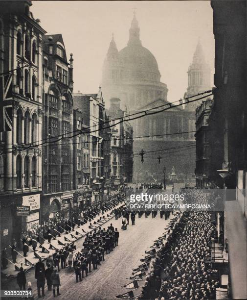 Funeral of the Admiral of the Fleet John Jellicoe, the procession passing up Ludgate Hill, London, United Kingdom, photograph from The Illustrated...