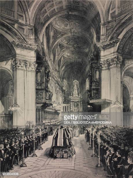 Funeral of the Admiral of the Fleet John Jellicoe, the service in St Paul Cathedral, London, United Kingdom, drawing from The Illustrated London...