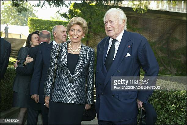 Funeral of the Countess of Paris in the Royal Chapel of Dreux France On July 11 2003Helene Carrere d'Encausse Maurice Druon