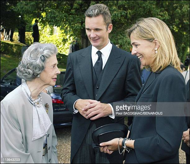 Funeral of the Countess of Paris in the Royal Chapel of Dreux France On July 11 2003Queen Fabiola Inaki Urdangarin and wife Infanta Cristina