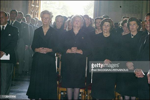Funeral of the Countess of Paris in the Royal Chapel of Dreux France On July 11 2003From left to right Duchess of Montpensier Princess Therese of...