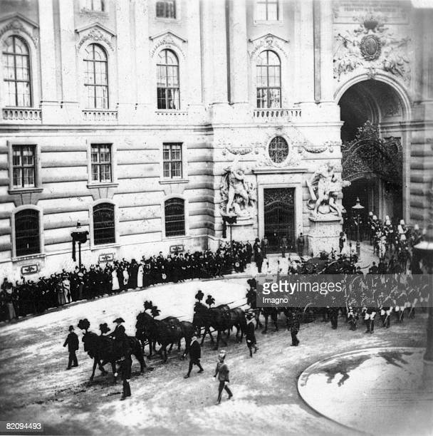 Funeral of the Empress Elisabeth of Austria The funeral procession is leaving the court of the Hofburg Imperial Palace Vienna Photograph 18th of...