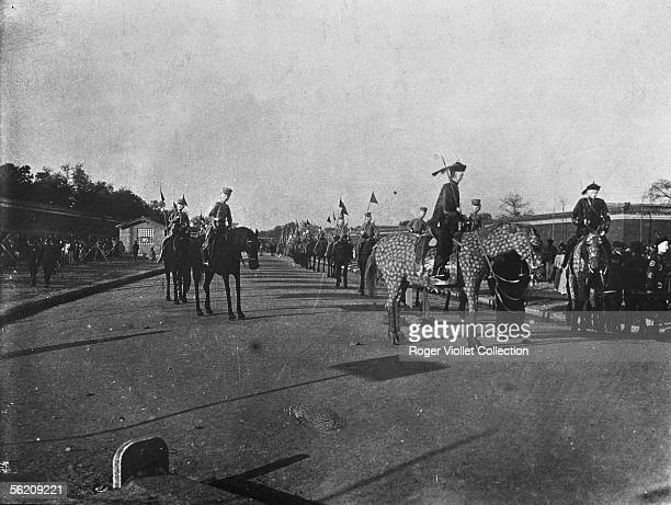 Funeral of the empress of China Cixi in Beijing Models representing horses and charecters of the Cixi's suite which were burned after the burial...