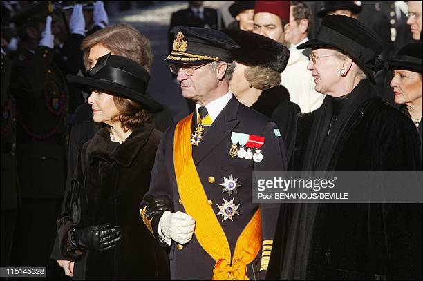 Funeral of the Grand Duchess Josephine Charlotte of Luxembourg in Luxembourg city Luxembourg on January 15 2005 Queen Silvia and King Carl Gustaf of...