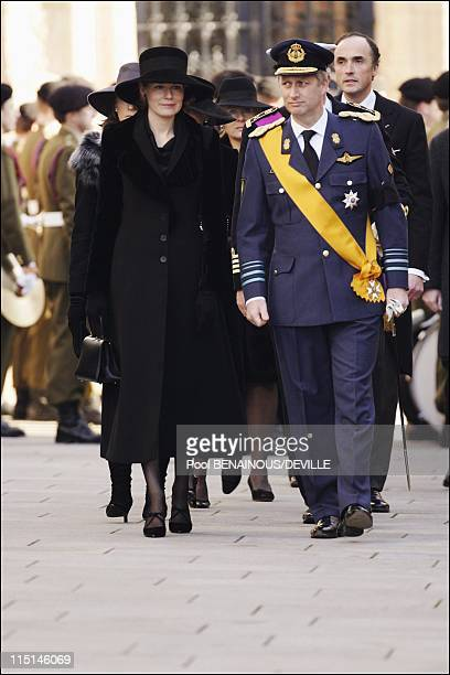 Funeral of the Grand Duchess Josephine Charlotte of Luxembourg in Luxembourg city Luxembourg on January 15 2005 Prince Philippe and wife Mathilde of...