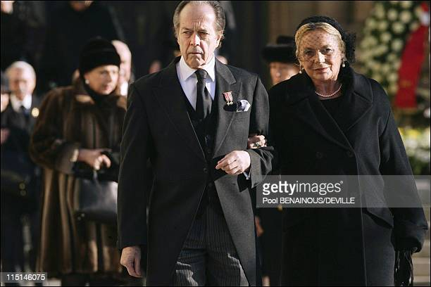 Funeral of the Grand Duchess Josephine Charlotte of Luxembourg in Luxembourg city Luxembourg on January 15 2005 Count and Countess of Paris