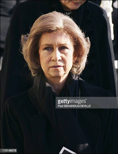 Funeral of the Grand Duchess Josephine Charlotte of Luxembourg in Luxembourg city Luxembourg on January 15 2005 Queen Sofia of Spain