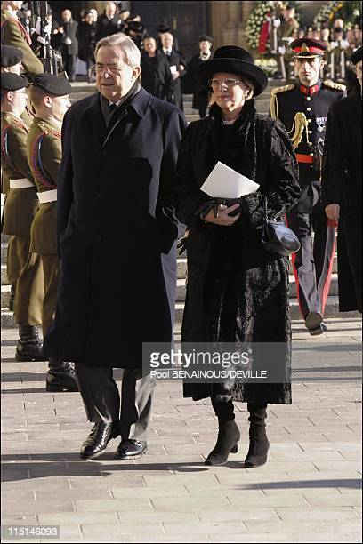 Funeral of the Grand Duchess Josephine Charlotte of Luxembourg in Luxembourg city Luxembourg on January 15 2005 King Constantin of Greece and wife