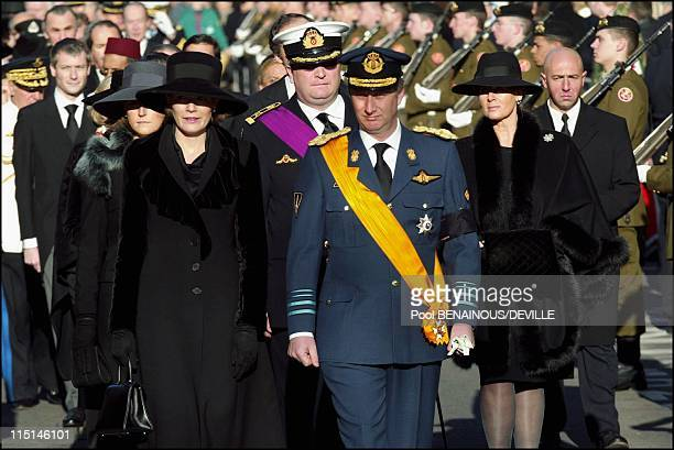 Funeral of the Grand Duchess Josephine Charlotte of Luxembourg in Luxembourg city Luxembourg on January 15 2005 Princess Mathilde and Prince Philippe...