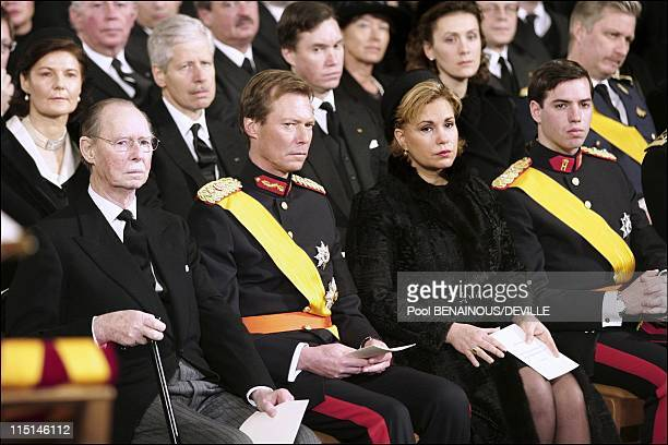 Funeral of the Grand Duchess Josephine Charlotte of Luxembourg in Luxembourg city Luxembourg on January 15 2005 Grand Duke Jean Grand Duke Henri and...