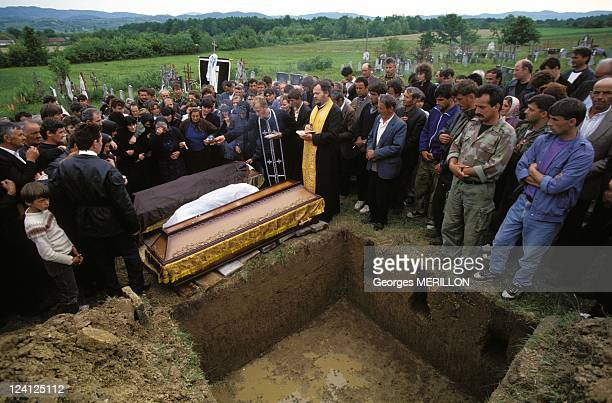 Funeral of the Serb civilians killed by the Croatian and Muslim forces In Brcko Bosnia And Herzegovina On May 13 1994 Sajlovic Funeral in Mertvile