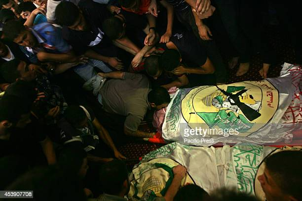 Funeral of three top senior Hamas commanders, Mohammed Abu Shamala, Mohammed Barhoum and Raed al-Attar, who are believed to have died overnight in...