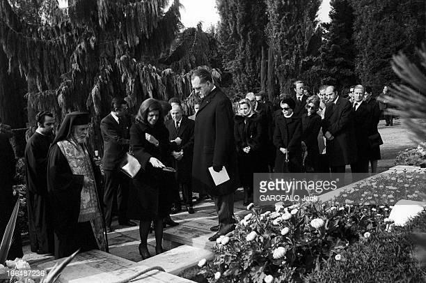 Funeral Of Tina Niarchos Lausanne 6 Octobre 1974 Les obsèques de Tina NIARCHOS épouse de Stavros NIARCHOS et mère de Christina ONASSIS lors de la...