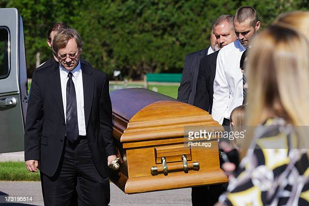 funeral pallbearers - sarg stock-fotos und bilder