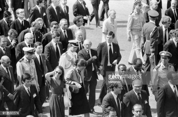 Funeral parade of assassinated Egyptian President Anwar Sadat in Cairo, Egypt. Prince Charles and Foreign Secretary Lord Carrington pictured in the...
