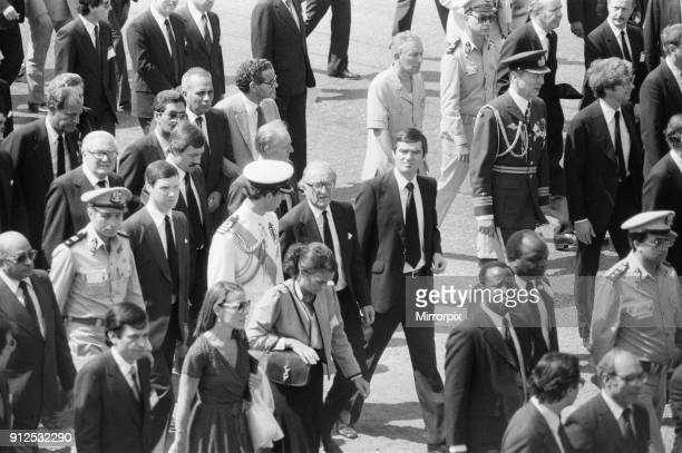 Funeral parade of assassinated Egyptian President Anwar Sadat in Cairo Egypt Prince Charles and Foreign Secretary Lord Carrington pictured in the...