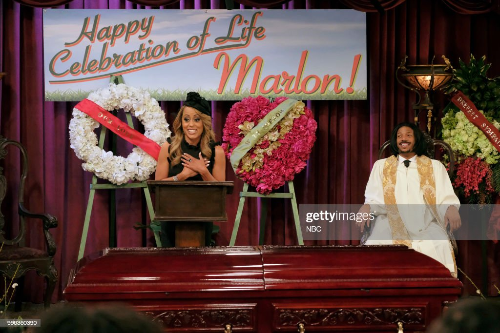 MARLON -- 'Funeral Party' Episode 210 -- Pictured: (l-r) Essence Atkins as Ashley Wayne, Marlon Wayans as Marlon Wayne --