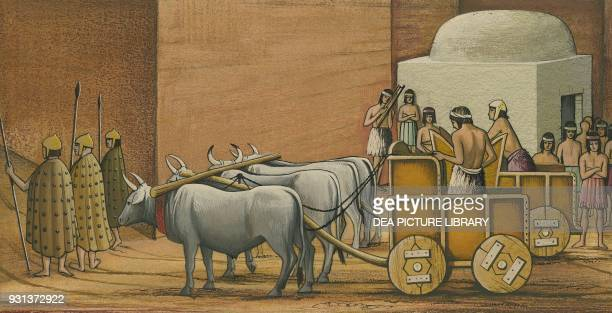 Funeral procession all its components will be sacrificed in the tomb of the king drawing Sumerian civilization 40001500 BC