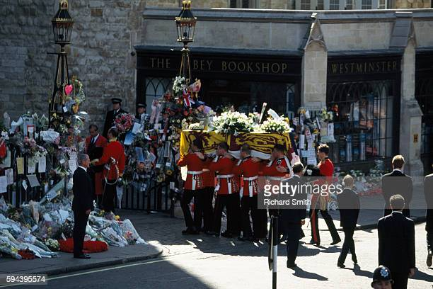 Funeral procession and coffin of Princess Diana are followed by Prince Charles and Princes Harry and William