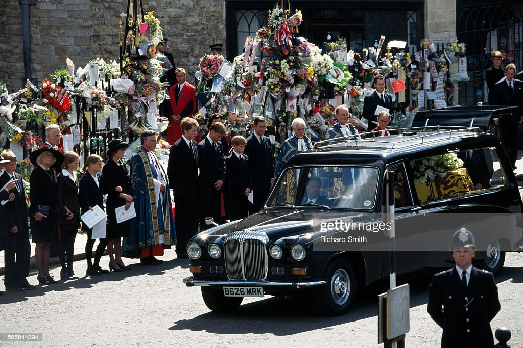 Funeral Procession And Coffin Of Princess Diana In Front Of Prince